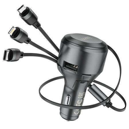 Автомобильное зарядное устройство с кабелем 3 в 1 Hoco S27 Tributo