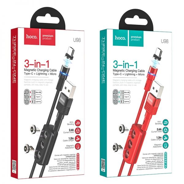 Магнитный кабель зарядки 3 в 1 с чехлом Hoco U98