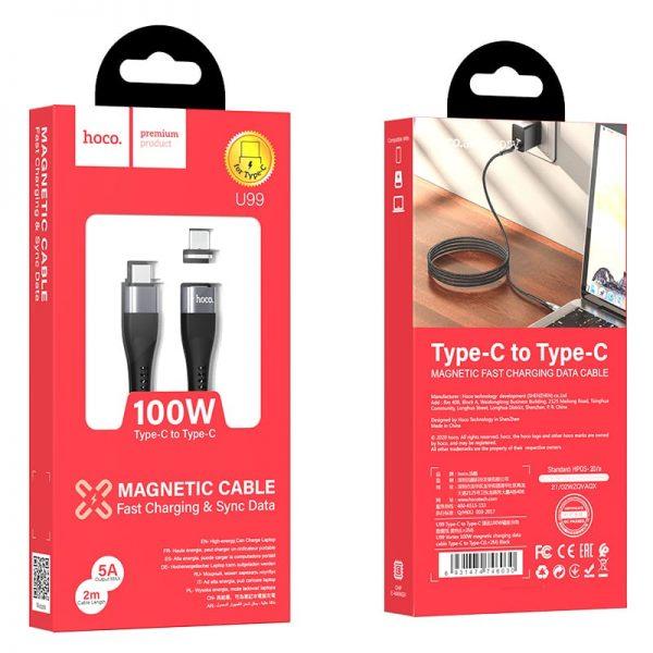 Магнитный кабель Hoco U99 Type-C to Type-C 100W